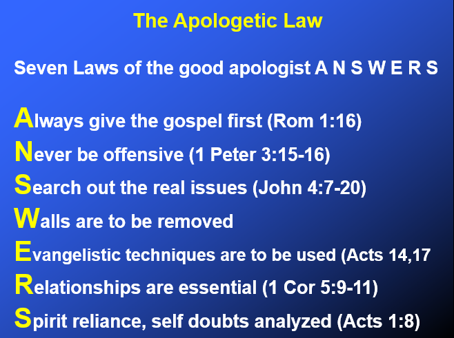 The apologetic Law