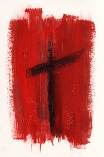 cross in red painting